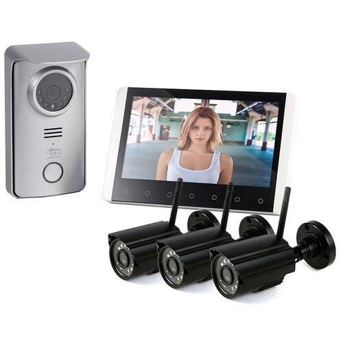 Радиоканальный домофон с 3мя видеокамерами Skynet R80 (13) - домофон 3 камеры, домофон с камерой в подъезд, беспроводной видеодомофон подарочная упаковка