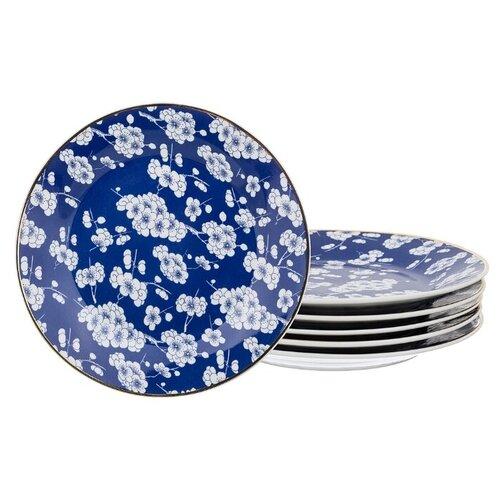 набор свечей lefard 348 305 серебристый высота 27 см 3 шт Lefard Набор десертных тарелок 20 см 6 шт синий