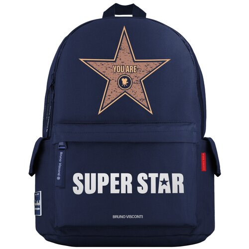 Рюкзак BrunoVisconti® молодежный синий «SUPER STAR» Арт. 12-003-136/02