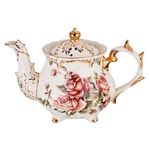 Lefard Заварочный чайник Корейская роза 1.3 л, белый/розовый/золотой lefard заварочный чайник корейская роза 1 3 л белый розовый золотой