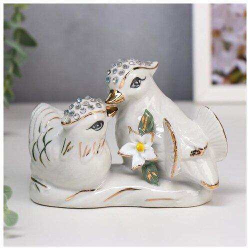 Сувенир керамика Белые уточки-мандаринки с цветком 9,5х14,5х7 см 5240670