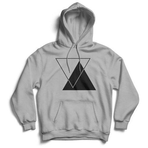 Толстовка ЕстьНюанс с принтом «Треугольники» серая, размер XL
