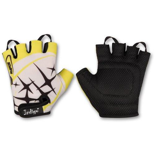 Перчатки вело детские INDIGO Искра SB-01-8822 Бело-желтый 2XS