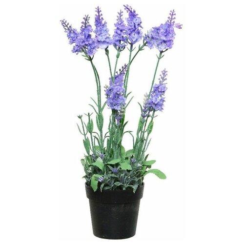 Элитные искусственные цветы ЛАВАНДА в горшочке, пластик, цвет-сиреневый, 18x18x38 см, Kaemingk 800182-сиреневый