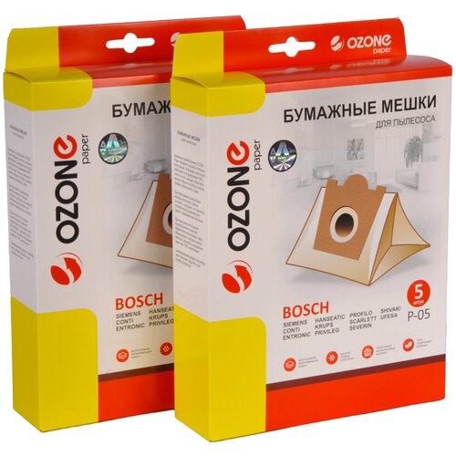 мешки пылесборники ozone xxl p05 бумажные 12 шт 2 микрофильтра для bosch siemens scarlett ufesa Мешки пылесборники Ozone P-05/2 для пылесоса BOSCH, SIEMENS, SCARLETT, UFESA, 2 упаковки по 5 шт.