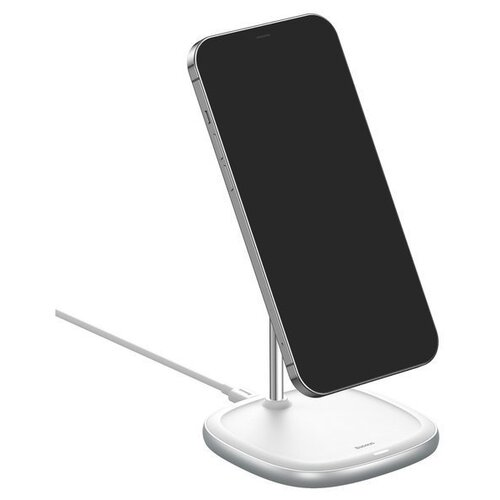 Фото - Беспроводная зарядка Baseus Swan Magnetic Desktop Bracket Wireless Charger(suit для iPhone12) Белый WXSW-02 беспроводная сетевая зарядка baseus whirlwind desktop wireless charger черный