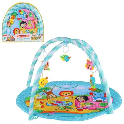 Детский коврик развивающий для малышей Smart Baby с подвесками-погремушками, коврик для ползания детский, коврик для детей, игровой коврик детский, коврик для малышей, коврик для ребенка, коврик для детей игровой, мягкий, размер 82 х 64 см, голубой