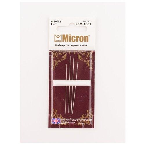 Купить Набор игл для вышивания бесером 4 шт., KSM-1061, Micron, серебристый, Иглы