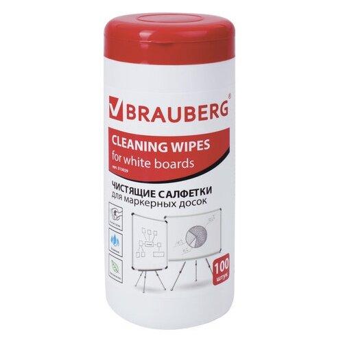 Чистящие салфетки для маркерных досок в тубе 100 шт. влажные BRAUBERG 513029