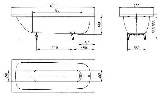 Ванна KALDEWEI SANIFORM PLUS 363-1 Standard сталь