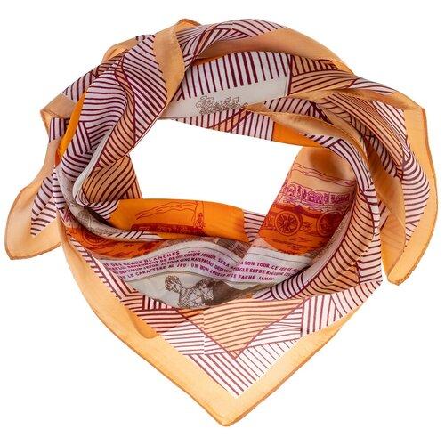 Шелковый платок на шею/Платок шелковый на голову/женский/Шейный шелковый платок/стильный/модный /21kdg70951101-18vr бежевый, оранжевый/Vittorio Richi/80% шелк,20% полиэстер/70x70