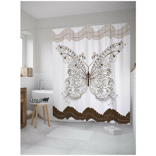 Фото - Штора для ванной JoyArty Кружевная бабочка 180х200 (sc-8810) штора для ванной joyarty прыгучая бабочка 180х200 sc 16368