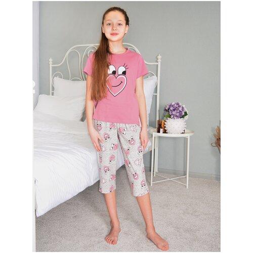 Купить Детская пижама с бриджами для девочки ДЕ3 (134 рост), Toontex, Домашняя одежда