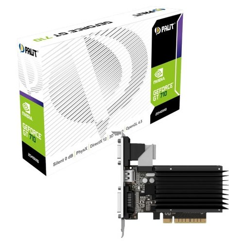 Видеокарта Palit GeForce GT 710 954Mhz PCI-E 2.0 2048Mb 1600Mhz 64 bit DVI HDMI HDCP Silent Retail