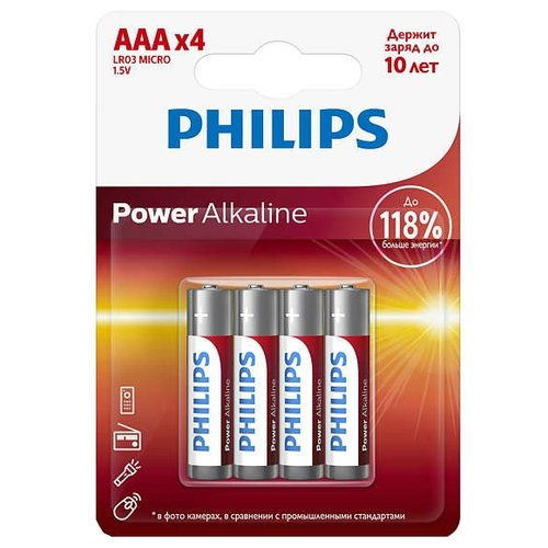 Фото - Батарейка Philips Power Alkaline ААА 4 шт блистер батарейка philips power alkaline aa 4 шт блистер