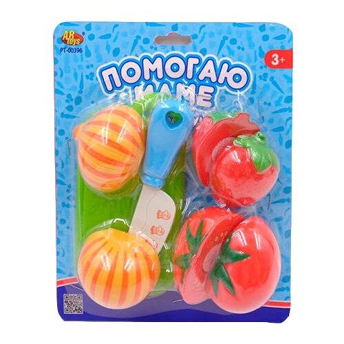 Купить Набор продуктов с посудой ABtoys Помогаю маме PT-00396 оранжевый/красный/зеленый, Игрушечная еда и посуда