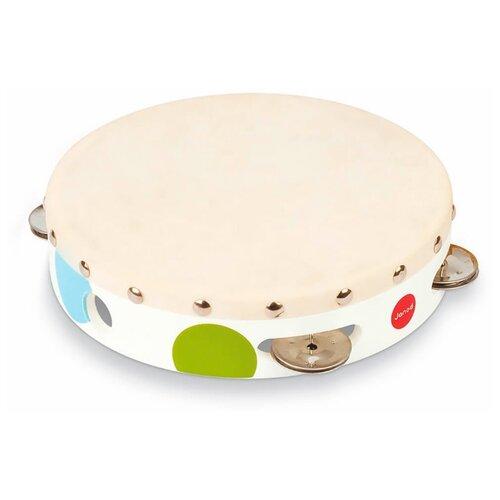 Купить Janod бубен Конфетти J07601 белый, Детские музыкальные инструменты