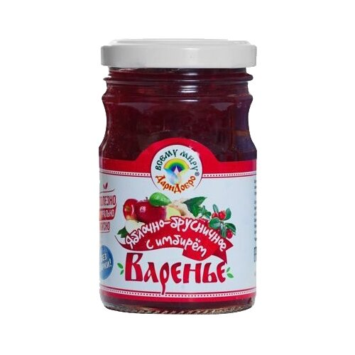 Варенье ДариДобро яблочно-брусничное с имбирем, банка 220 гВаренье, повидло, протертые ягоды<br>