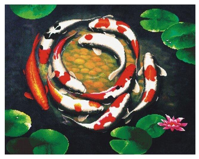 Цветной Набор алмазной вышивки Девять карпов (LGP015) 40х50 см