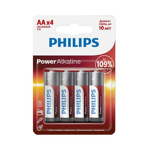 Фото - Батарейка Philips Power Alkaline AA 4 шт блистер батарейка philips power alkaline aa 4 шт блистер