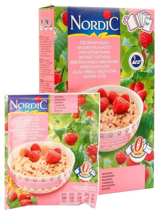 Каша моментального приготовления NORDIC (Нордик) овсяная с малиной, 210 гр.