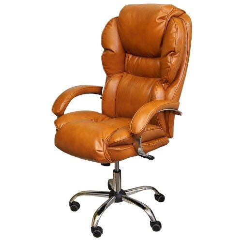 Компьютерное кресло Креслов Барон КВ-12-131112 для руководителя, обивка: искусственная кожа, цвет: рыже-коричневый