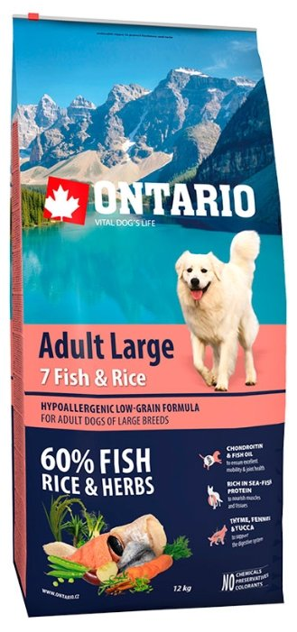 Корм для собак Ontario Adult Large 7 Fish & Rice