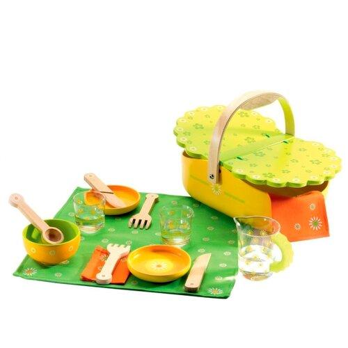 Купить Набор посуды DJECO Мой пикник 06527 зеленый/желтый/оранжевый, Игрушечная еда и посуда