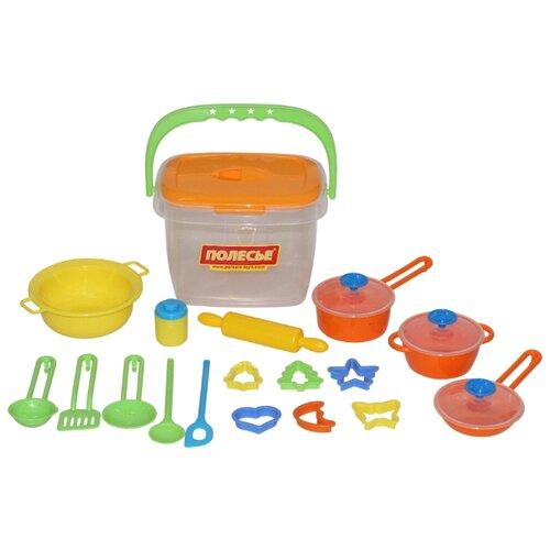 Набор посуды Полесье 20 элементов в ведёрке 56627 желтый/оранжевый/зеленый/голубой набор посуды полесье сервировочный столик stars chef 44655 фиолетовый зеленый белый
