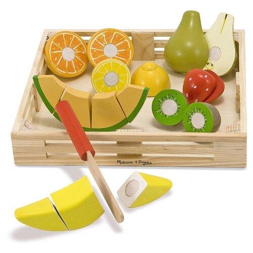 Купить Набор продуктов с посудой Melissa & Doug Cutting Fruit Set 4021 зеленый/желтый/коричневый, Игрушечная еда и посуда