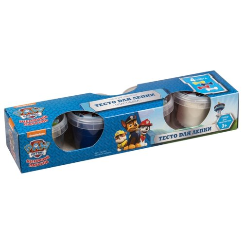 Купить Масса для лепки LORI Пластишка - Щенячий патруль 4 цвета по 80г (Тдс-001), Пластилин и масса для лепки