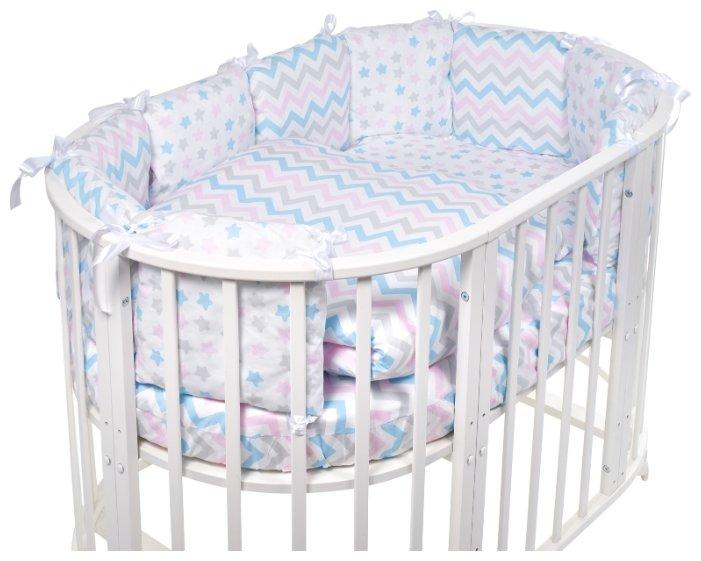 Комплект в овальную кроватку SWEET BABY Lunedi Bianco Белый, 5 предметов
