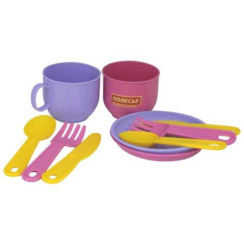 """Набор посуды Полесье """"Минутка"""" на 2 персоны розовый/фиолетовый/желтый"""