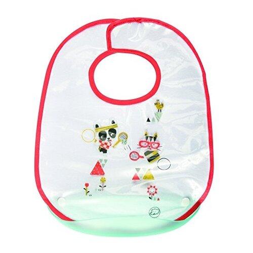 цена на Bebe confort Нагрудник непромокаемый Sport, с пластиковым кармашком, 1 шт., расцветка: белый/красный/голубой