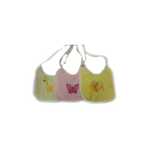 Купить Kidboo Набор нагрудников с вышивкой (3 шт), 3 шт., расцветка: жираф бабочка рыбка/желтый/розовый, Нагрудники и слюнявчики