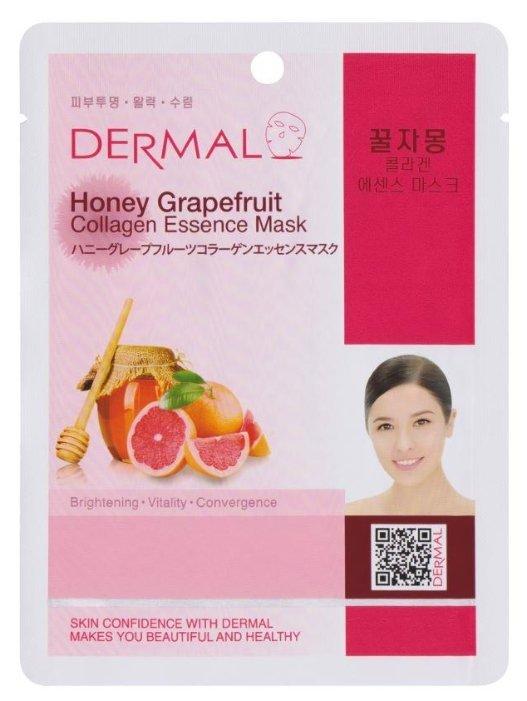 DERMAL тканевая маска Honey Grapefruit Collagen Essence Mask с коллагеном, экстрактом грейпфрута и меда