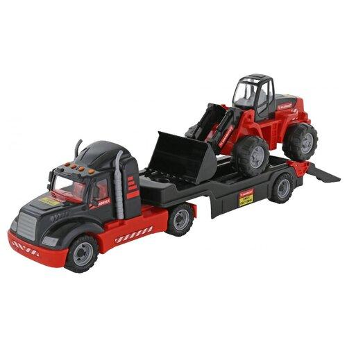 Набор техники Полесье Трейлер и трактор-погрузчик 206-03 Mammoet (57129) красный/черный машины полесье трактор погрузчик
