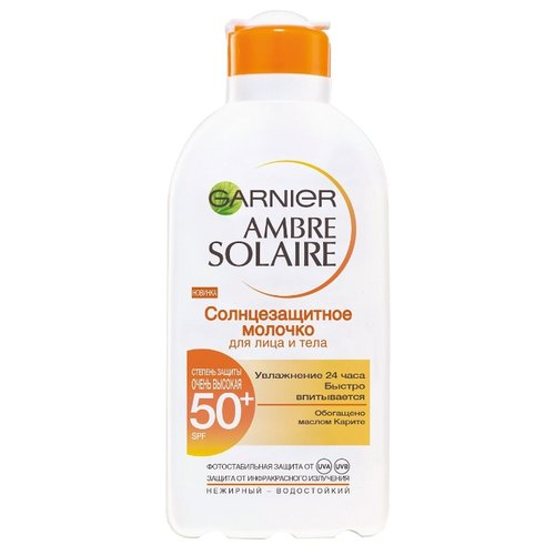 GARNIER Ambre Solaire классическое солнцезащитное молочко с карите для лица и тела SPF 50 200 мл garnier ambre solaire молочко