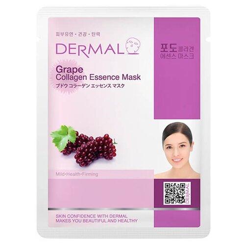 DERMAL тканевая маска Grape Collagen Essence Mask с коллагеном и экстрактом винограда, 23 г dermal тканевая маска bamboo collagen essence mask с коллагеном и экстрактом бамбука 23 г