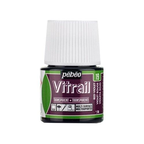 Краски Pebeo Vitrail 050019 (красно-фиолетовый) 1 цв. (45 мл.) pebeo краска для стекла и металла vitrail лаковая прозрачная цвет 050 037 кобальт синий 45 мл