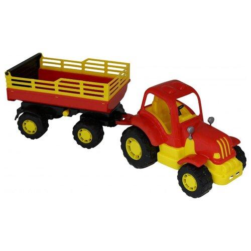 Фото - Трактор Полесье Силач с прицепом №2 (44969) 58 см трактор полесье алтай с прицепом 2 и ковшом 35363 66 см