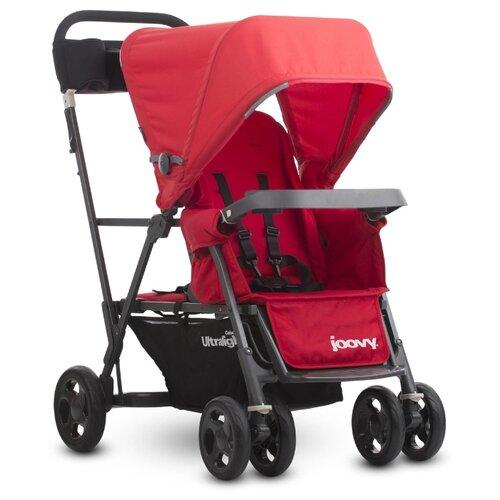 Купить Прогулочная коляска для двойни Joovy Caboose Ultralight Graphite, красный, Коляски