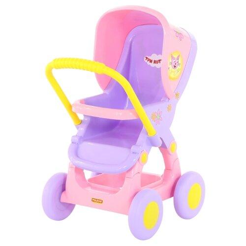 Купить Прогулочная коляска Полесье Три кота №1 71453 розовый/фиолетовый, Коляски для кукол