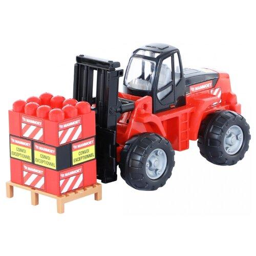 Погрузчик Полесье Mammoet с конструктором (62734) красный/черный набор машин полесье трейлер и трактор погрузчик mammoet volvo 204 03 57105 черный красный