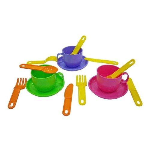 """Набор посуды Полесье """"Минутка"""" на 3 персоны 9561 розовый/зеленый/фиолетовый"""