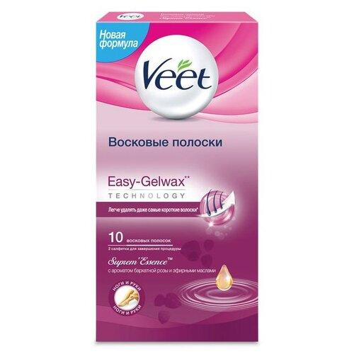 Veet Восковые полоски Easy Gelwax SupremEssence с ароматом бархатной розы и эфирными маслами 10 шт.Восковая эпиляция<br>