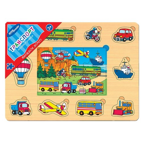 Купить Рамка-вкладыш Step puzzle Веселое лото Транспорт (89608), элементов: 16 шт., Пазлы