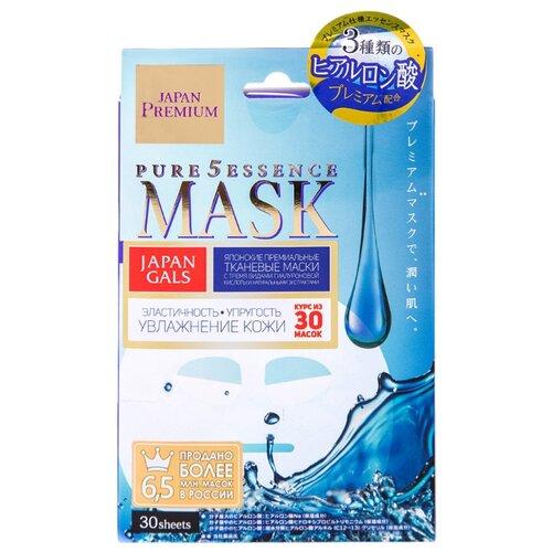 Japan Gals маска Pure 5 Essence Premium c тремя видами гиалуроновой кислоты, 30 шт. utena лосьон молочко simple balance 3в1 с эффектом uv защиты spf 5 с тремя видами гиалуроновой кислоты 200 мл