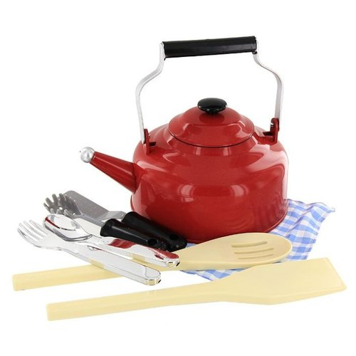 Купить Набор посуды ABtoys Помогаю Маме PT-00112 (3331) красный/бежевый/синий, Игрушечная еда и посуда