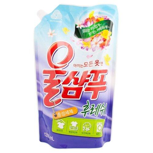 Жидкость для стирки Aekyung Wool Shampoo Fresh 1.3 л пакетГели и жидкости для стирки<br>
